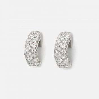 """Pair of """"Pavé"""" earrings in white gold with diamonds."""