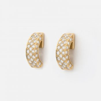 "Pair of ""Pavé"" earrings in yellow gold with diamonds."