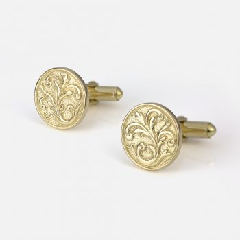 """Florão"" cufflinks in yellow gold."