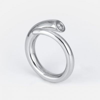 Silver and diamond ring