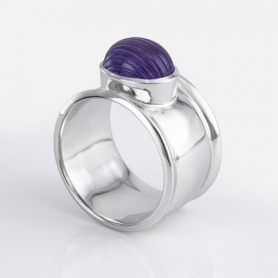 'Candies' ring in yellow gold with striated amethyst
