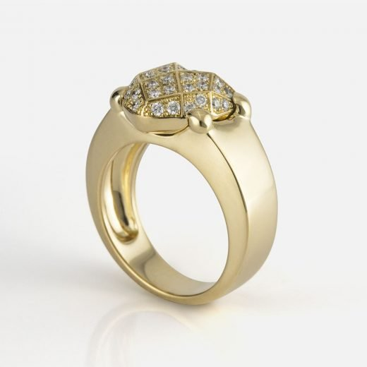 'Heart Faces' ring in yellow gold with diamonds