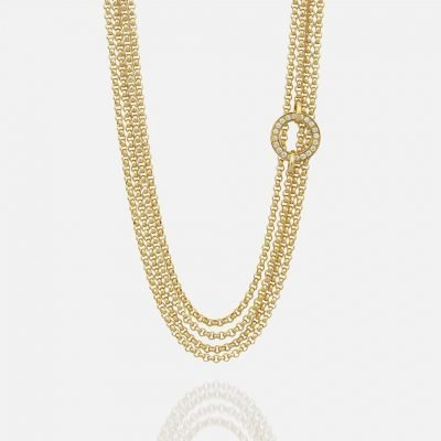 'Cordão Português' necklace in yellow gold with diamonds