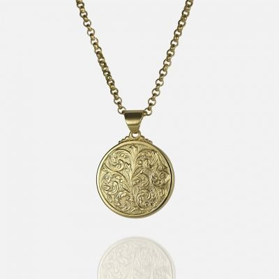 Small 'Florão' cordon and medallion in yellow gold
