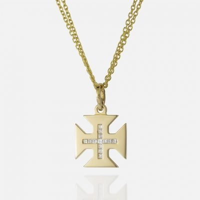 Yellow gold 'Boa Esperança' double chain and cross and carré diamonds