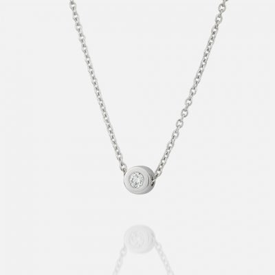 'One' chain and pendant in white gold with diamond