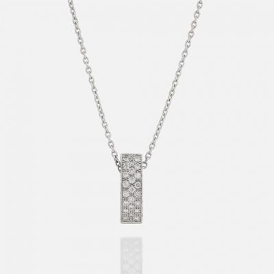 'Pavé' chain and pendant in white gold with diamonds