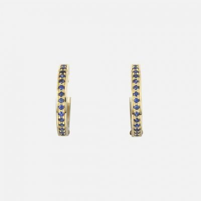 Pair of 'Ceilão' earrings in yellow gold with Celanese sapphires