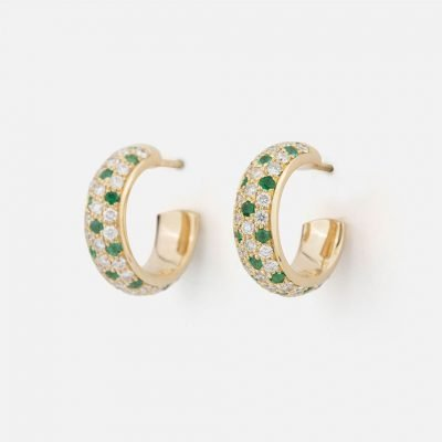Pair of 'Fancy' earrings in yellow gold with emeralds and diamonds