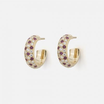 Pair of 'Fancy' earrings in yellow gold with rubies and diamonds