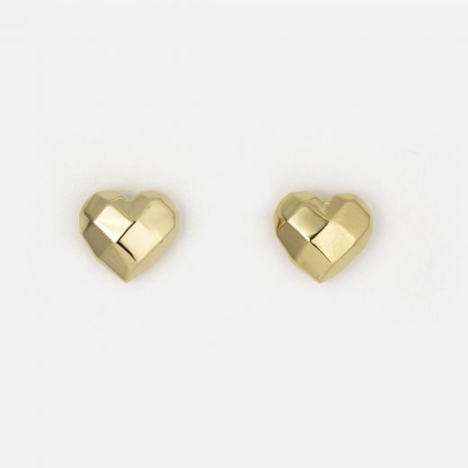 Pair of 'Heart Faces' earrings in yellow gold