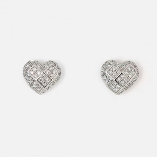Pair of 'Heart Faces' earrings in white gold with diamonds