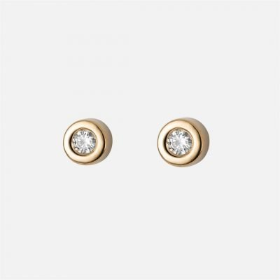 Pair of 'One' earrings in yellow gold with diamonds