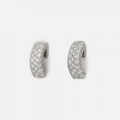 Pair of 'Pavé' earrings in white gold with diamonds