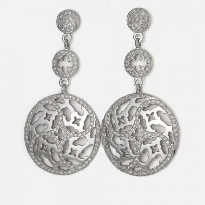 Pair of 'Promessa de Amor' earrings in white gold with diamonds