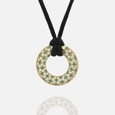 'Fancy' pendant in yellow gold with emerals and diamonds