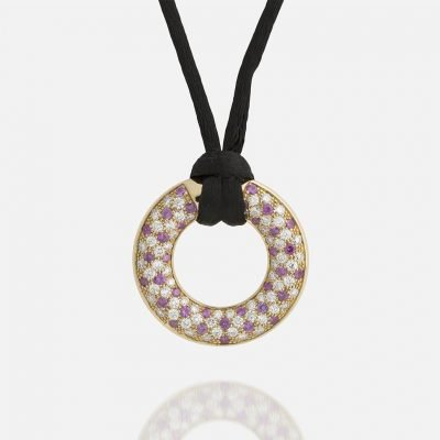 'Fancy' pendant in yellow gold with rose sapphires and diamonds