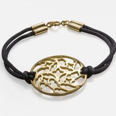 'Promessa de Amor' bracelet in yellow gold and silk cord