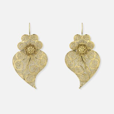 """Silver gold plated """"Heart of Viana"""" filigree pair of earrings"""