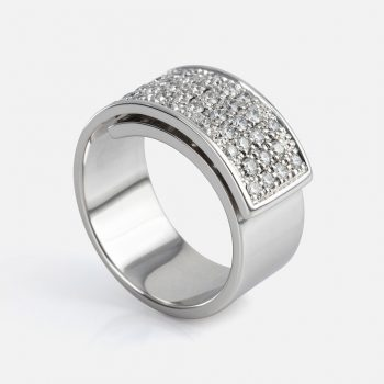 """Dupla Dobra"" ring in white gold."