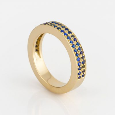 """Ceilão"" ring in yellow gold with Celanese sapphires."
