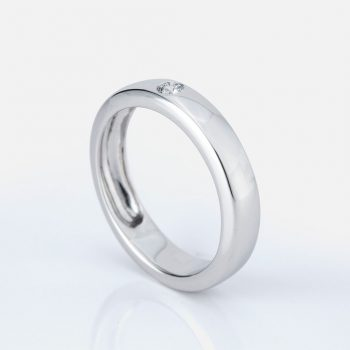 "Round ""Shapes"" ring in white gold with diamond."