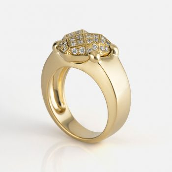 """Heart Faces"" ring in yellow gold with diamonds."