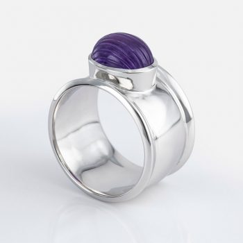 """Candies"" ring in yellow gold with striated amethyst."