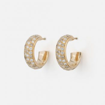 "Pair of ""Fancy"" earrings in yellow gold with brown diamonds and white diamonds."