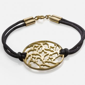 """Promessa de Amor"" bracelet in yellow gold and silk cord."