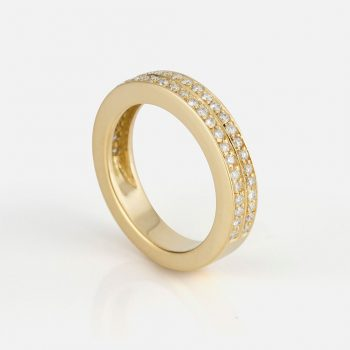 """Twice"" ring in yellow gold with diamonds."