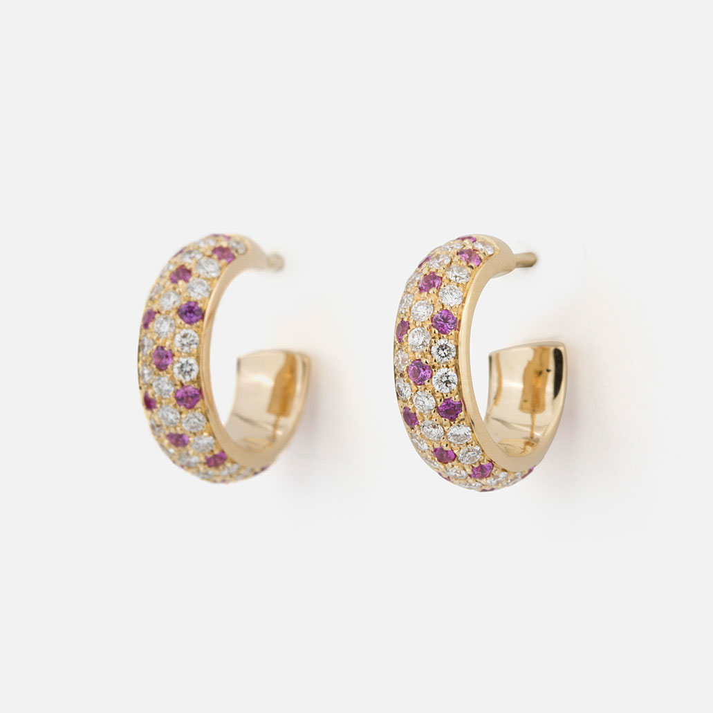 "Pair of ""Fancy"" earrings in yellow gold with rose sapphires and diamonds."