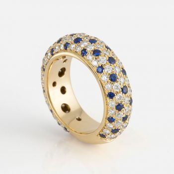 """Fancy"" ring in yellow gold with blue sapphires and diamonds."
