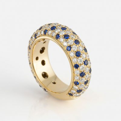 """""""Fancy"""" ring in yellow gold with blue sapphires and diamonds."""