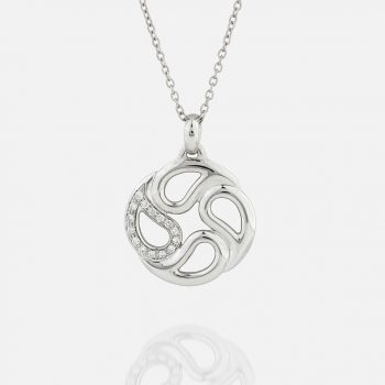 """""""Sublime"""" chain and pendant in white gold with diamonds."""