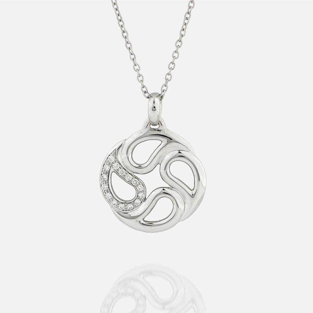 """Sublime"" chain and pendant in white gold with diamonds."