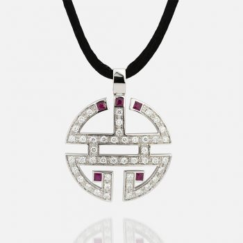"""Oriente - Longevidade"" pendant in white gold with diamonds and rubies and silk cord."