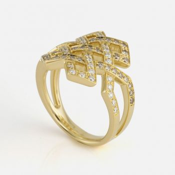 """Oriente - Amor Eterno"" ring in yellow gold with white diamonds and light-brown diamonds."