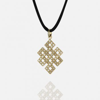 """""""Oriente - Amor Eterno"""" pendant in yellow gold with white diamonds and light-brown diamonds and silk cord."""