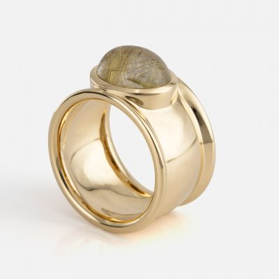 """Candies"" ring in yellow gold with rutile quartz."