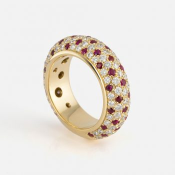 """Fancy"" ring in yellow gold with rubies and diamonds."