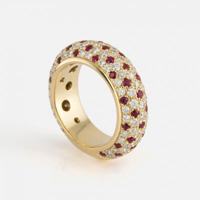 """""""Fancy"""" ring in yellow gold with rubies and diamonds."""