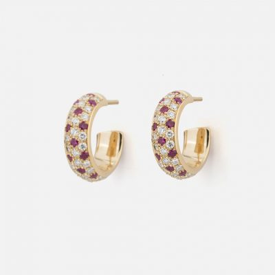"""Pair of """"Fancy"""" earrings in yellow gold with rubies and diamonds."""