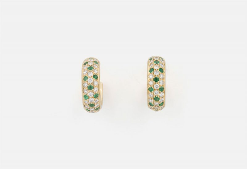 """Pair of """"Fancy"""" earrings in yellow gold with emeralds and diamonds."""