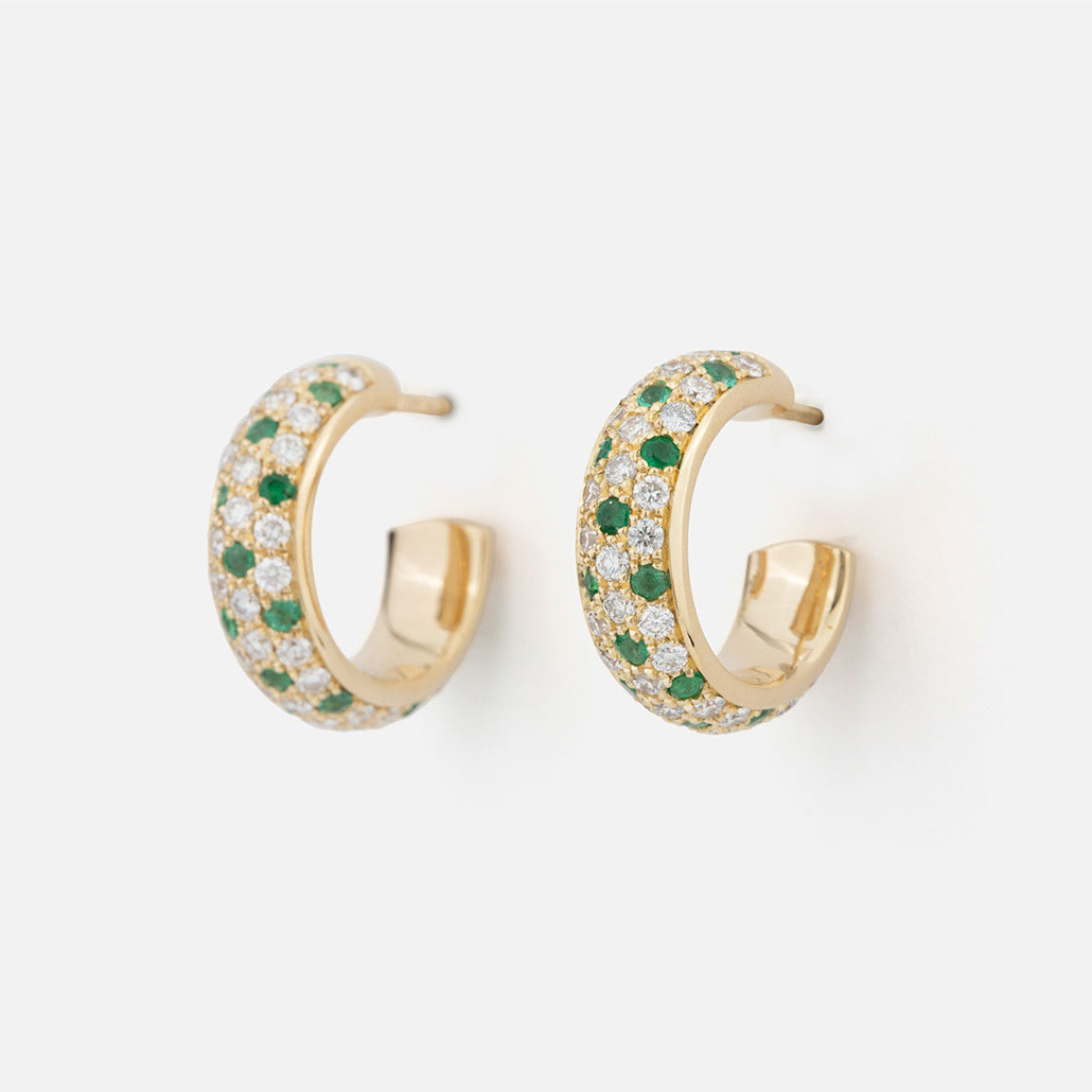 "Pair of ""Fancy"" earrings in yellow gold with emeralds and diamonds."