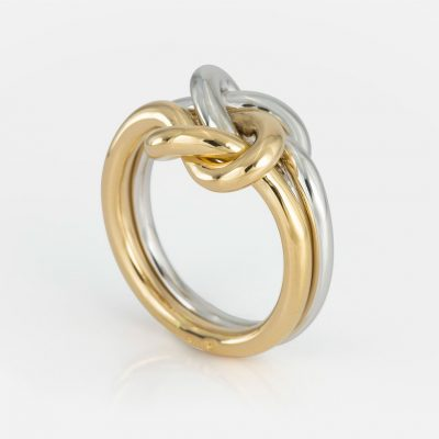 'Knot Me' ring in white gold and yellow gold