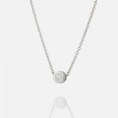 """One"" chain and pendant in white gold with diamond"