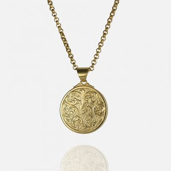 "Small ""Florão"" cordon and medallion in yellow gold."