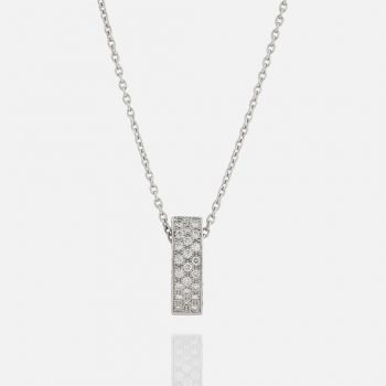 """""""Pavé """" chain and pendant in white gold with diamonds."""