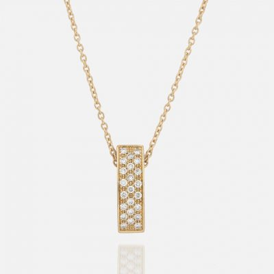 """Pavé "" chain and pendant in yellow gold with diamonds."